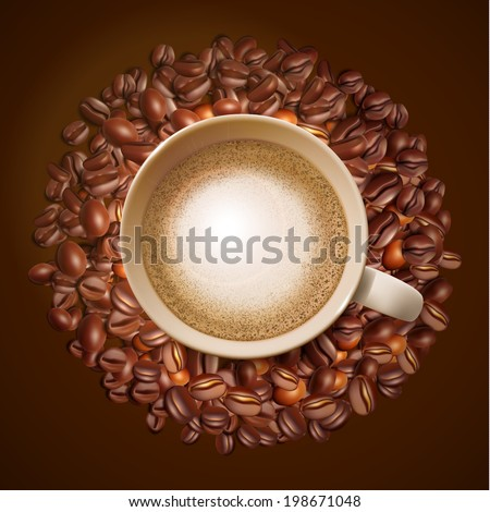 Coffee cup with coffee grain.  Vector coffee cup and vector grain. - stock vector