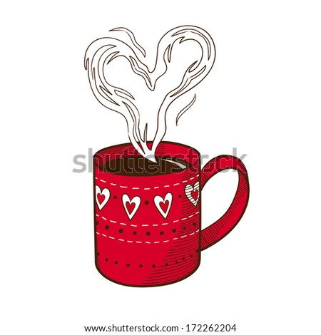 Coffee cup with heart shaped steam. Isolated sketch vector element for romantic design - stock vector