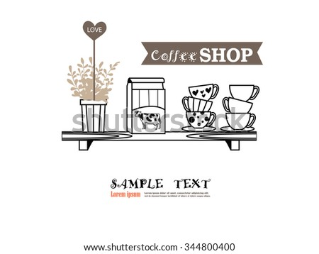 coffee cup with jug on shelves. Coffee drinks. coffee makers icons. vector illustration   - stock vector