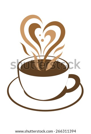 coffee cup with lovely heart steam vector illustration - stock vector