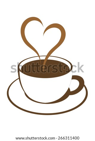 coffee cup with lovely heart steam vector illustration