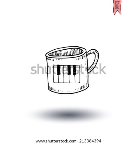 Coffee cup with piano icon, hand drawn illustration. - stock vector