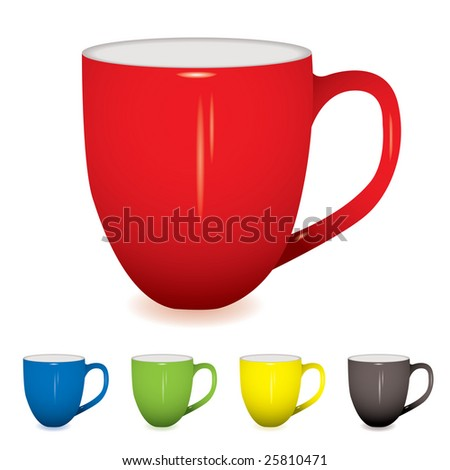 coffee cup with shadow and five colour variations - stock vector