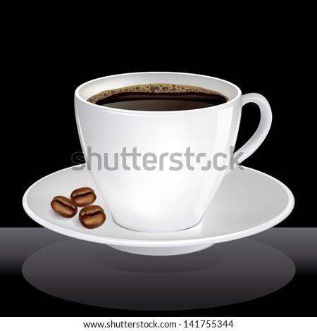 coffee cup with shadow over black background. vector illustration - stock vector