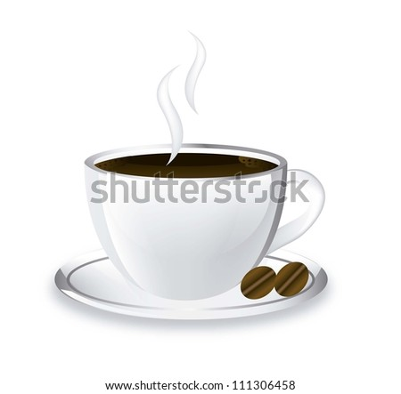 coffee cup with shadow over white background. vector illustration - stock vector