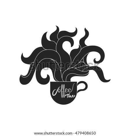 Coffee cup with smoke , Coffee time design with smoke, Vector vintage illustration.
