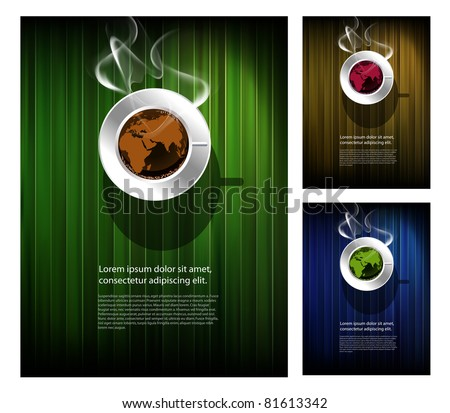 Coffee cup with world map, restaurant poster - stock vector