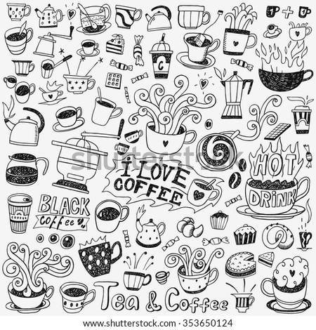coffee cups doodles set - stock vector