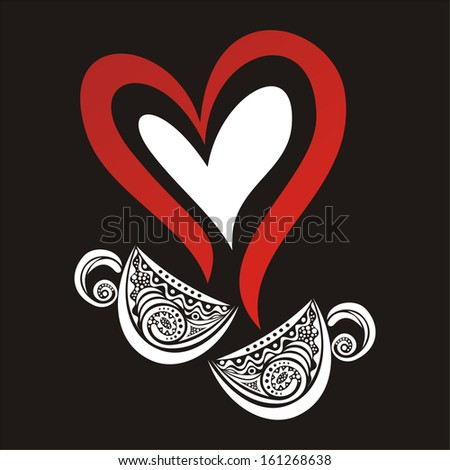 Coffee cups heart love valentines day menu vector illustration - stock vector
