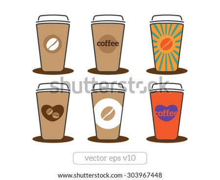 coffee cups icons with coffee beans, heart, text Vector illustration flat design - stock vector