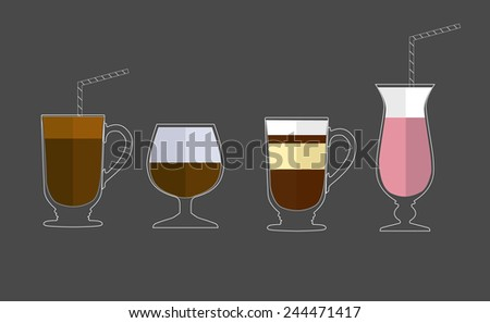 Coffee cups - latte, cappuccino, mocha. Vector illustration. Flat