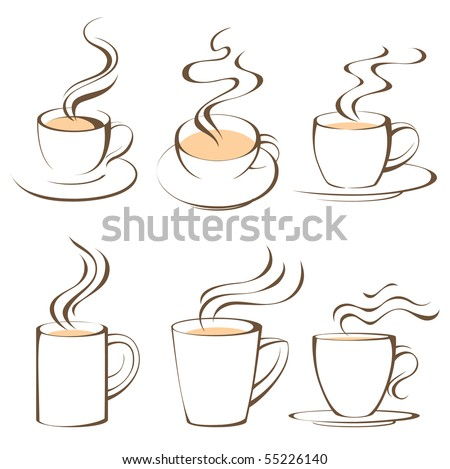 coffee cups set - stock vector