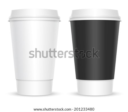 Coffee cups. Two color variations. Isolated on white background - stock vector