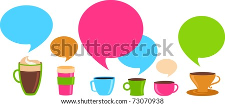 Coffee cups with colorful speech bubbles - stock vector