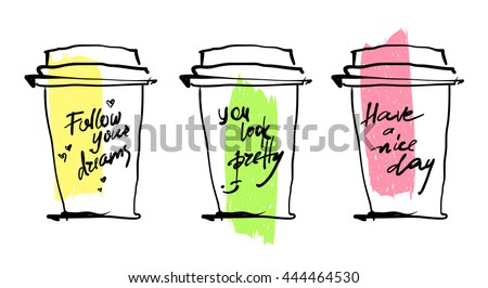 Coffee cups with notes