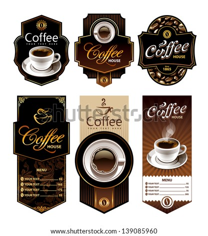 Coffee design banners. Menu and brand labels templates. Vector illustration. - stock vector