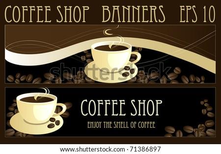 Coffee design banners, vector - stock vector