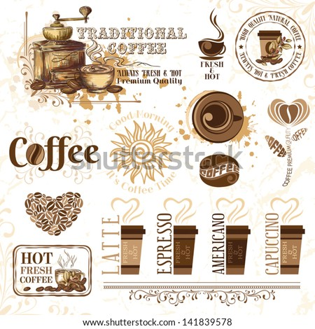 Coffee design elements - stock vector