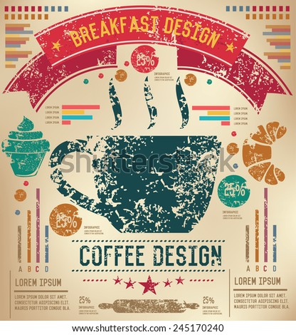 Coffee design on old paper background,info graphic,grunge vector - stock vector
