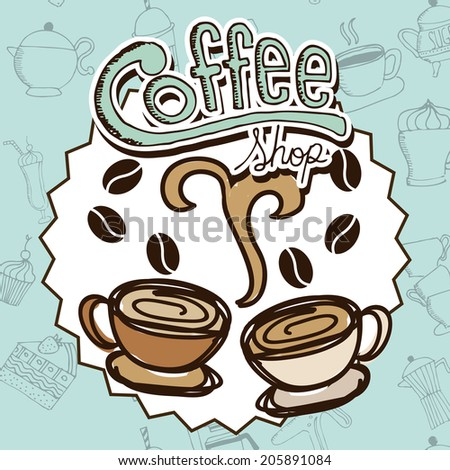 coffee design over blue background vector illustration - stock vector