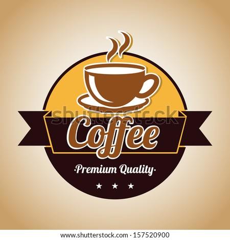 coffee design over bronze background vector illustration - stock vector