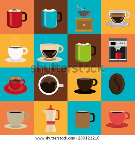 Coffee design over colorful background, vector illustration. - stock vector