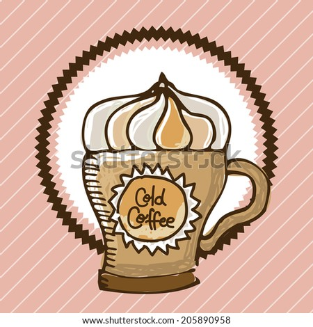 coffee design over pink background vector illustration - stock vector