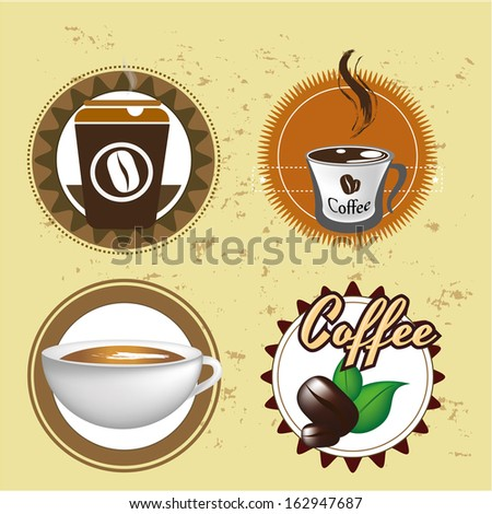 coffee design over rustic background vector illustration