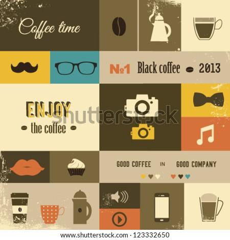 Coffee design set - stock vector
