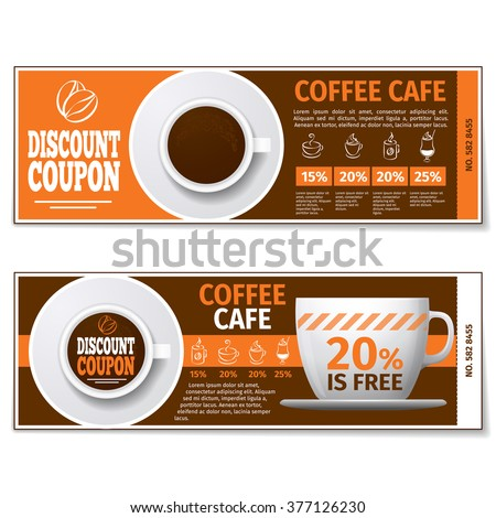 Coffee discount coupon or gift voucher. Label coffee discount, banner coupon, voucher coffee espresso, free gift illustration. Vector template - stock vector