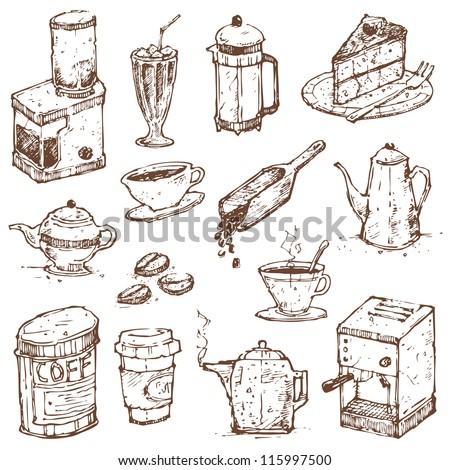 Coffee Doodle Vector Set - stock vector