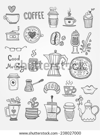 Coffee Doodles - stock vector