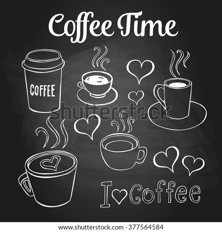 Coffee doodles on a chalkboard. Can be used as menu board for restaurant or bars. - stock vector