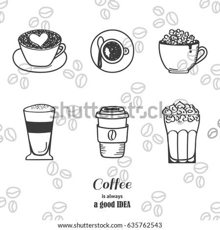 Pin drawn cup coffee cup 15 starbucks coffee drawing for How to draw a coffee bean