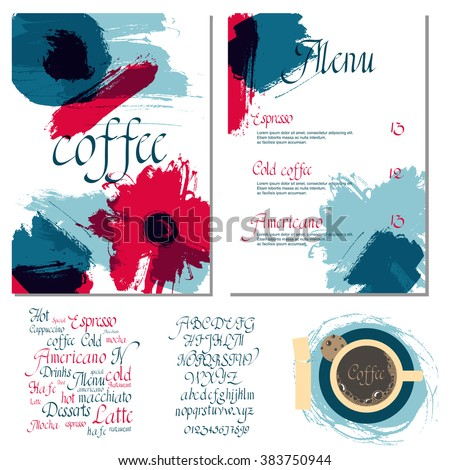 Coffee drink menu Set of artistic creative universal Hand Drawn textures with cursive lettering and different coffee  Abstract watercolor background - stock vector
