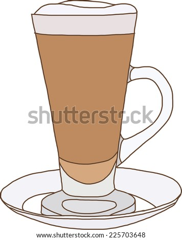 Coffee drink with cream in glass - stock vector