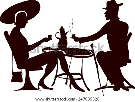 Coffee drinkers silhouette - stock vector