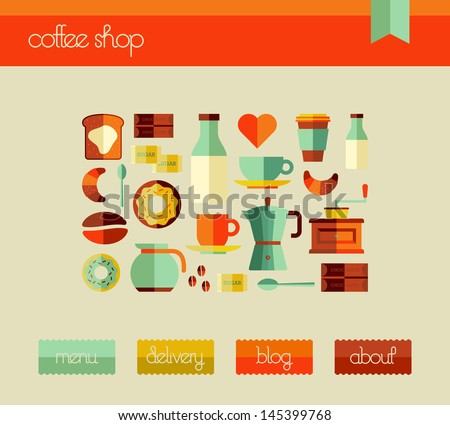 Coffee elements flat icons set in web design layout template. Vector file layered for easy edition. - stock vector