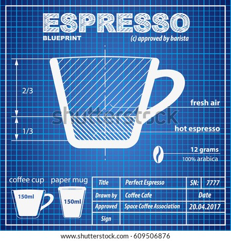 Coffee espresso composition making scheme blueprint stock vector coffee espresso composition and making scheme in blueprint paper drawing style print background composition of malvernweather Images