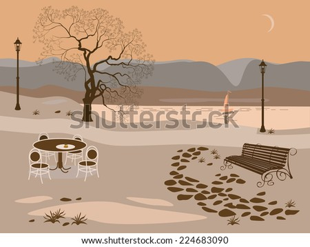 Coffee .Evening in the park near the lake   - stock vector
