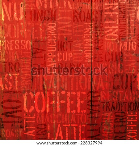 Coffee Experience Words On Red. Vector - stock vector