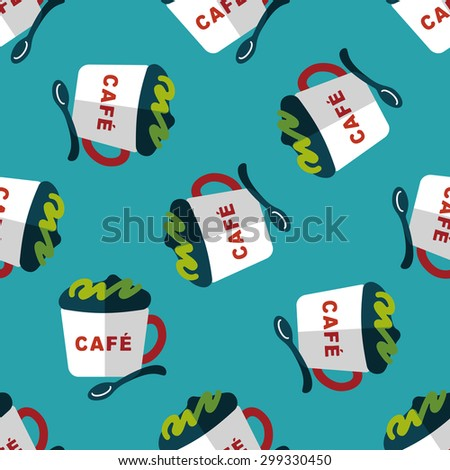 coffee flat icon,eps10 seamless pattern background - stock vector