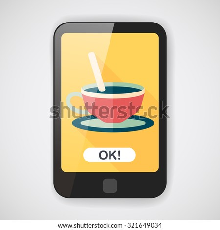 coffee flat icon with long shadow,eps10 - stock vector