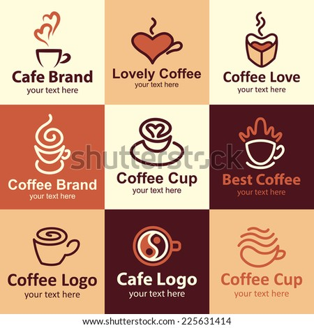 Coffee flat icons set logo ideas for brand - stock vector