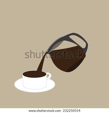 coffee gently - stock vector