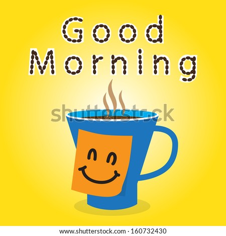 Coffee gift to friend in the morning for working day - stock vector
