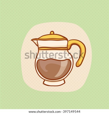 Coffee glass pot sketchy clip art. Vector Coffee pot design element. Sketch for coffee house flyer, banner, ad, package. Hand drawn cup of hot Coffee with halftone. Coffee glass pot icon - stock vector