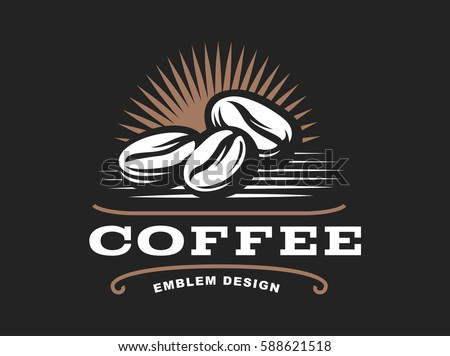 Coffee grain logo - vector illustration, emblem design on black background