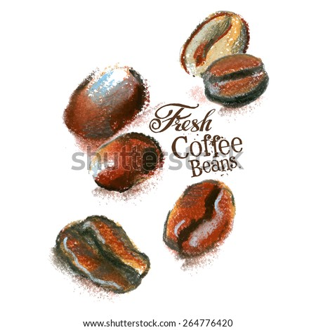 coffee grains, beans vector logo design template. cafe or drink, food icon. - stock vector