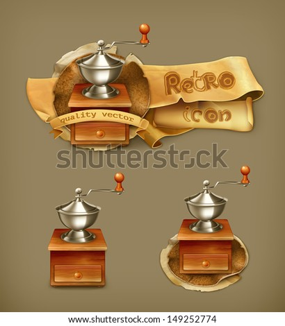 Coffee grinder, vector icon - stock vector